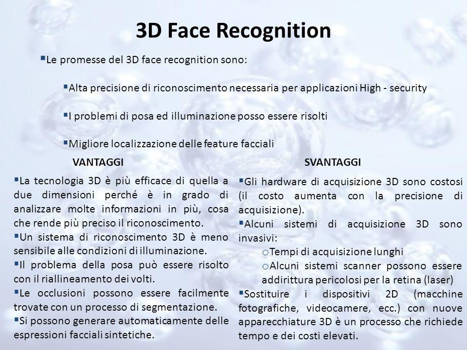 3D Face Recognition Le promesse del 3D face recognition sono: Alta precisione di riconoscimento necessaria per applicazioni High - security I problemi