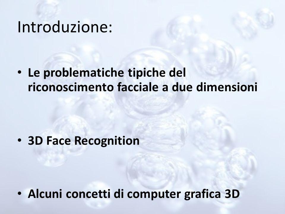 Introduzione: Le problematiche tipiche del riconoscimento facciale a due dimensioni 3D Face Recognition Alcuni concetti di computer grafica 3D