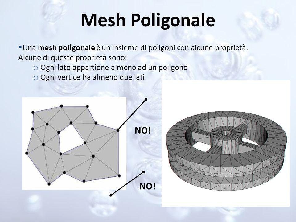 Mesh Poligonale Una mesh poligonale è un insieme di poligoni con alcune proprietà. Alcune di queste proprietà sono: o Ogni lato appartiene almeno ad u