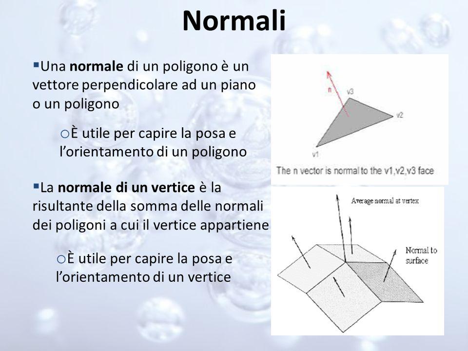 Normali Una normale di un poligono è un vettore perpendicolare ad un piano o un poligono o È utile per capire la posa e lorientamento di un poligono L