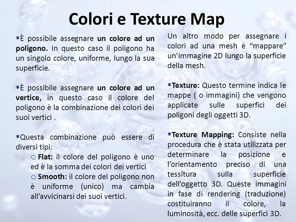 Colori e Texture Map È possibile assegnare un colore ad un poligono. In questo caso il poligono ha un singolo colore, uniforme, lungo la sua superfici
