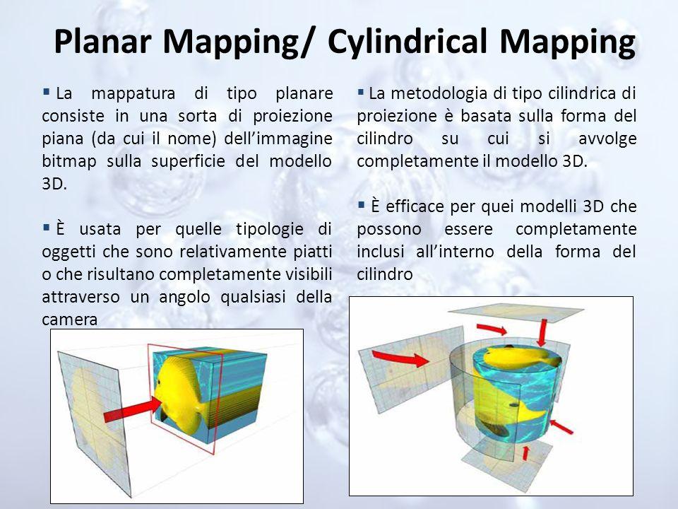 Planar Mapping/ Cylindrical Mapping La mappatura di tipo planare consiste in una sorta di proiezione piana (da cui il nome) dellimmagine bitmap sulla
