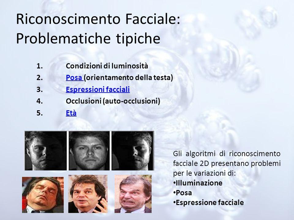Riconoscimento Facciale: Problematiche tipiche 1.Condizioni di luminosità 2.Posa (orientamento della testa)Posa 3.Espressioni faccialiEspressioni facc