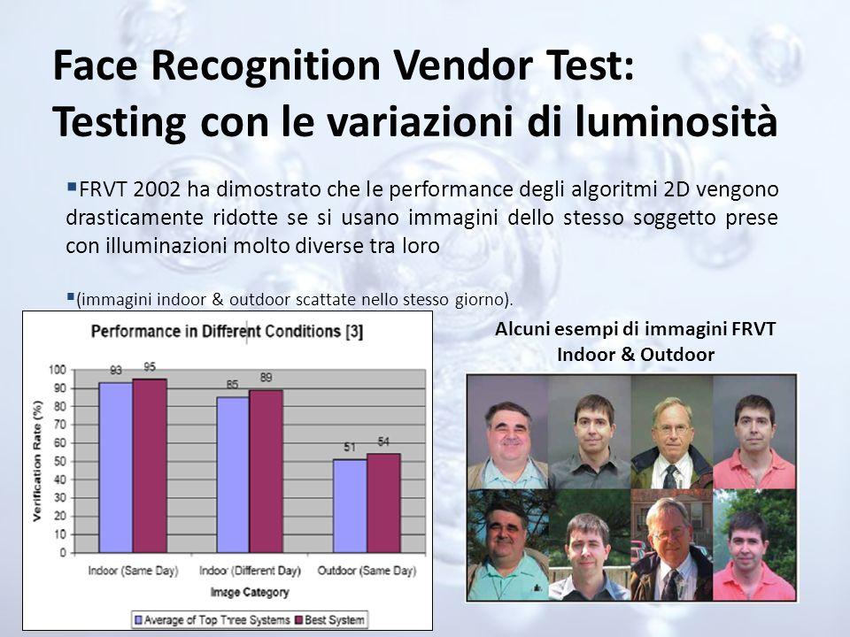 Face Recognition Vendor Test: Testing con le variazioni di luminosità FRVT 2002 ha dimostrato che le performance degli algoritmi 2D vengono drasticame