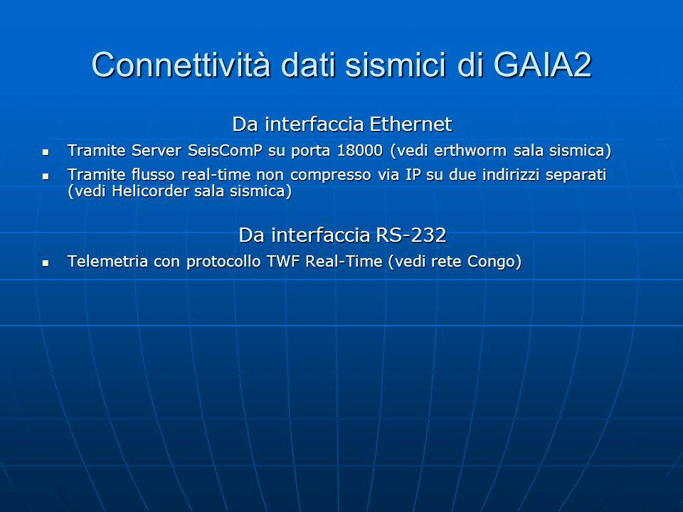 Connettività dati sismici di GAIA2 Da interfaccia Ethernet Tramite Server SeisComP su porta 18000 (vedi erthworm sala sismica) Tramite Server SeisComP