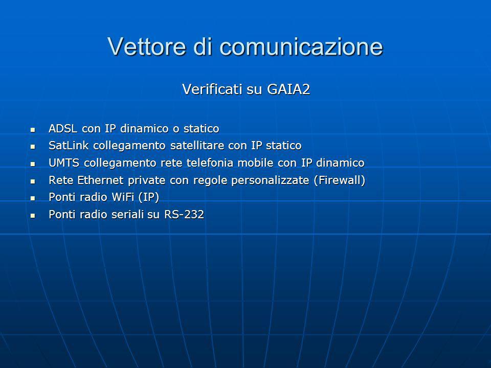 Vettore di comunicazione Verificati su GAIA2 ADSL con IP dinamico o statico ADSL con IP dinamico o statico SatLink collegamento satellitare con IP sta