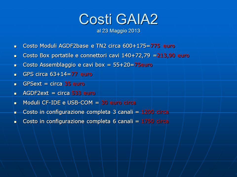 Costi GAIA2 al 23 Maggio 2013 Costo Moduli AGDF2base e TN2 circa 600+175=775 euro Costo Moduli AGDF2base e TN2 circa 600+175=775 euro Costo Box portat