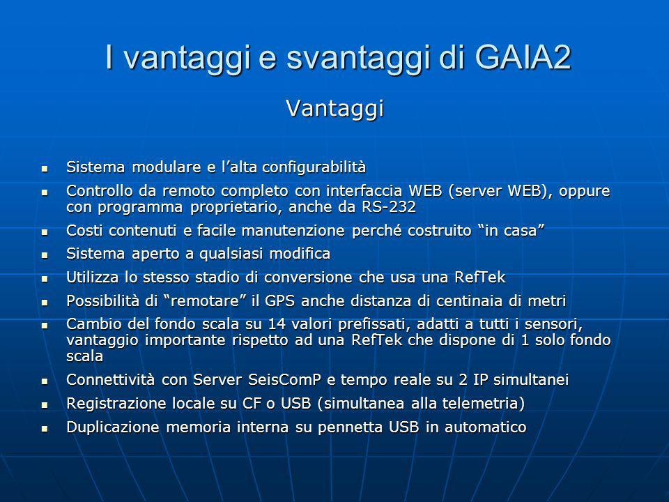 I vantaggi e svantaggi di GAIA2 Vantaggi Sistema modulare e lalta configurabilità Sistema modulare e lalta configurabilità Controllo da remoto complet