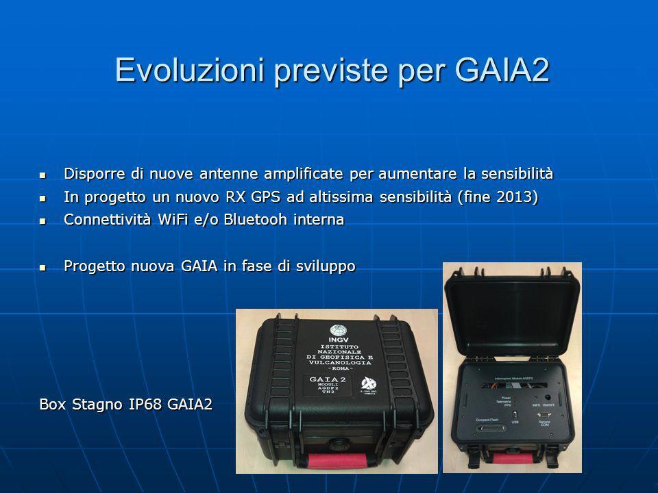 Evoluzioni previste per GAIA2 Disporre di nuove antenne amplificate per aumentare la sensibilità Disporre di nuove antenne amplificate per aumentare l