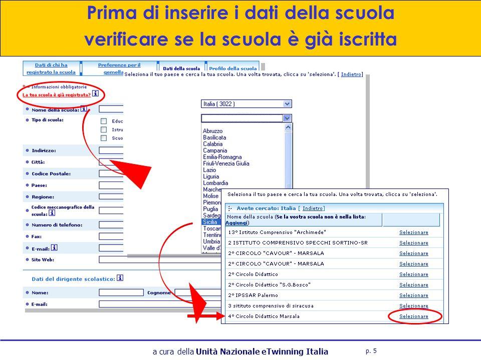 a cura della Unità Nazionale eTwinning Italia Prima di inserire i dati della scuola verificare se la scuola è già iscritta p.