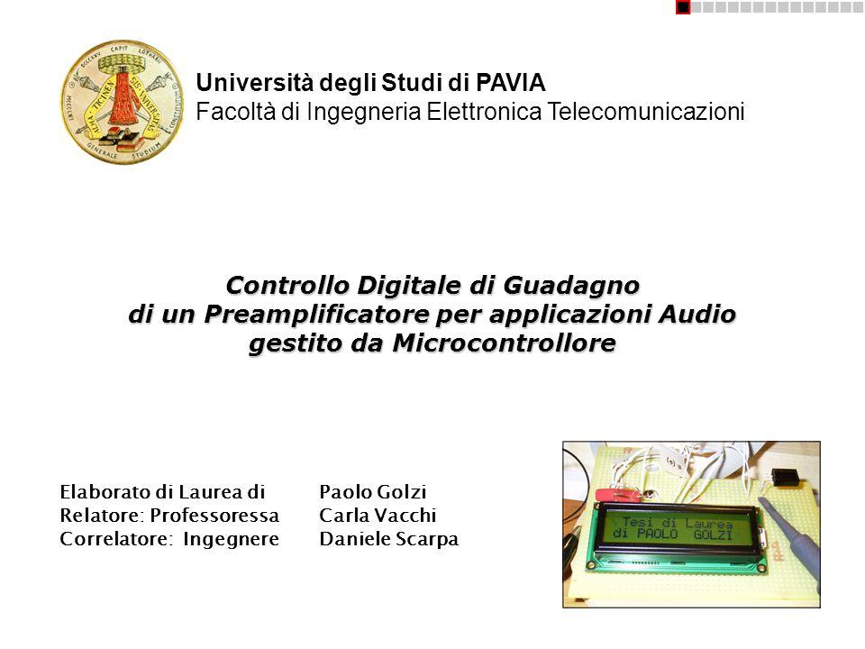 Controllo Digitale di Guadagno di un Preamplificatore per applicazioni Audio gestito da Microcontrollore Elaborato di Laurea diPaolo Golzi Relatore: P