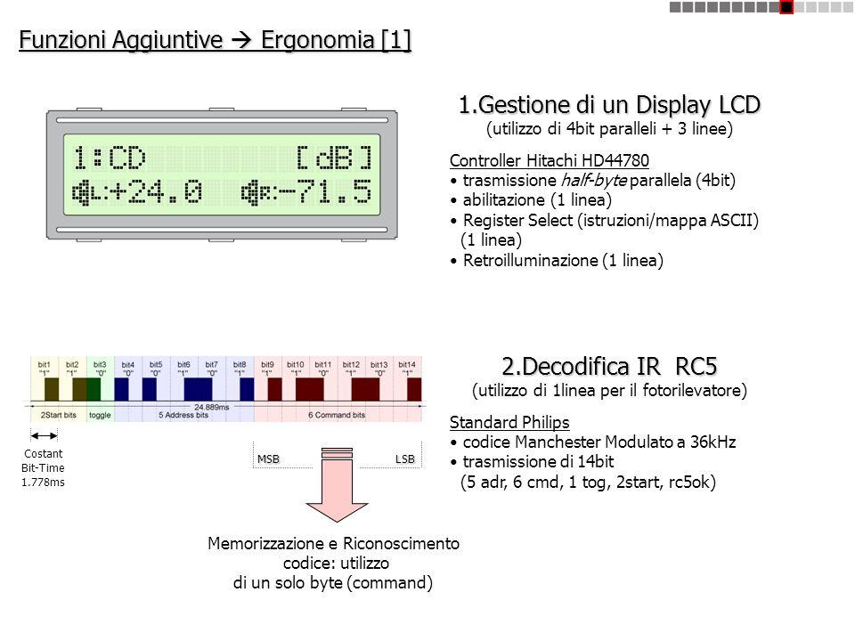 Funzioni Aggiuntive Ergonomia [1] 1.Gestione di un Display LCD (utilizzo di 4bit paralleli + 3 linee) Controller Hitachi HD44780 trasmissione half-byt