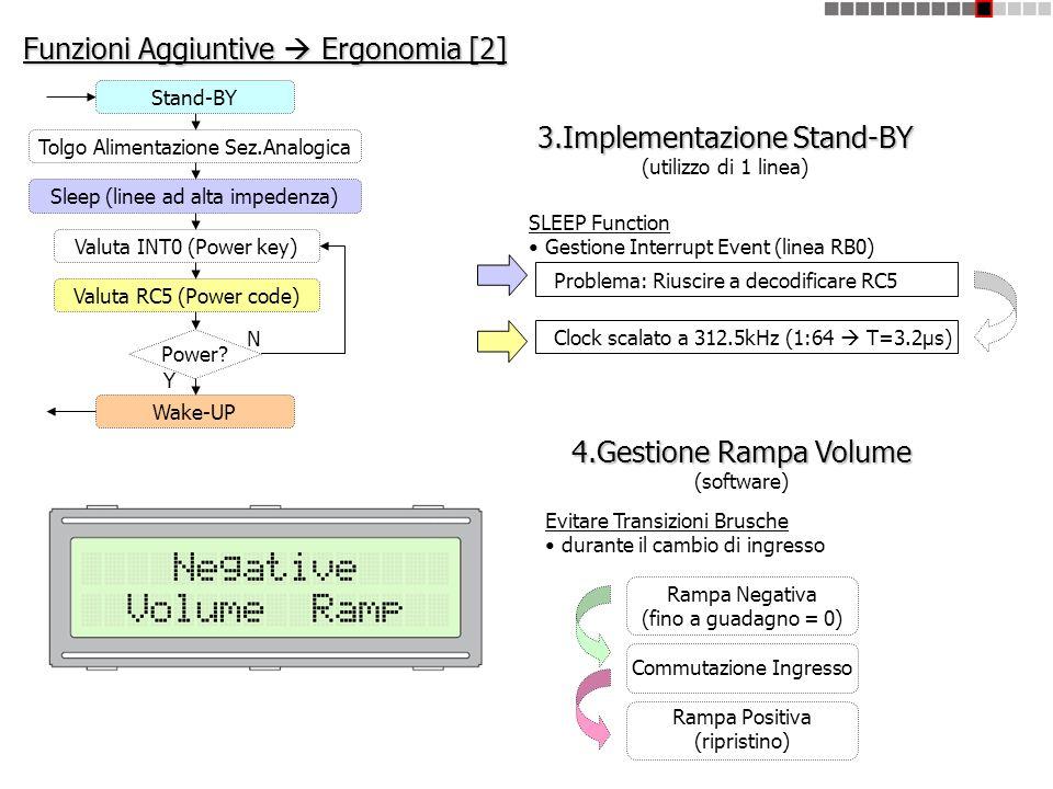 Funzioni Aggiuntive Ergonomia [2] 3.Implementazione Stand-BY (utilizzo di 1 linea) SLEEP Function Gestione Interrupt Event (linea RB0) 4.Gestione Ramp