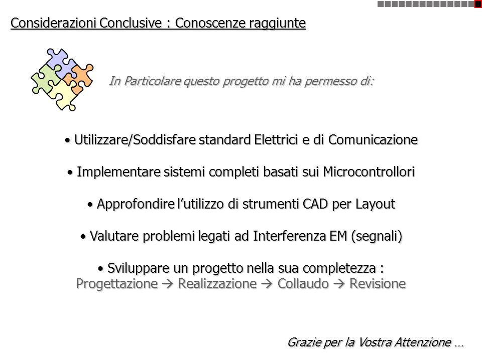 Considerazioni Conclusive : Conoscenze raggiunte In Particolare questo progetto mi ha permesso di: Utilizzare/Soddisfare standard Elettrici e di Comun