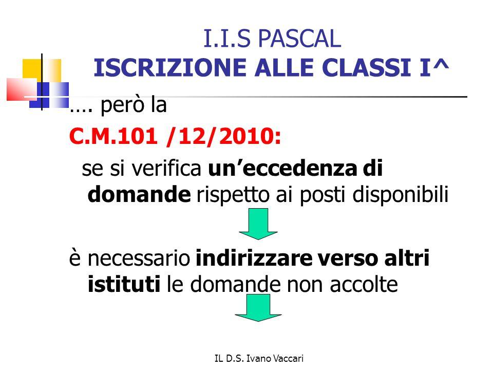 IL D.S.Ivano Vaccari I.I.S PASCAL ISCRIZIONE ALLE CLASSI I^ ….