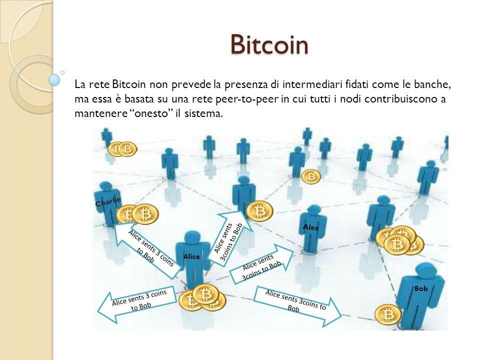Bitcoin La rete Bitcoin non prevede la presenza di intermediari fidati come le banche, ma essa è basata su una rete peer-to-peer in cui tutti i nodi c