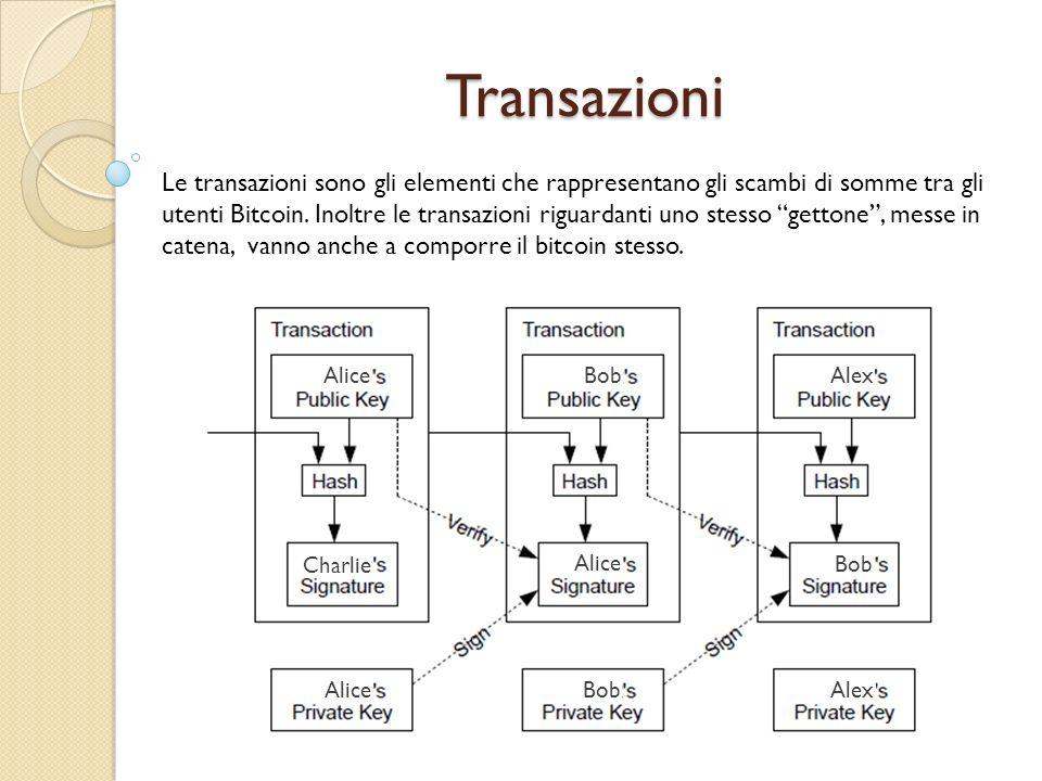 Transazioni Le transazioni sono gli elementi che rappresentano gli scambi di somme tra gli utenti Bitcoin. Inoltre le transazioni riguardanti uno stes