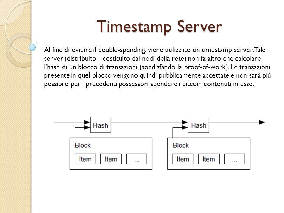 Timestamp Server Al fine di evitare il double-spending, viene utilizzato un timestamp server. Tale server (distribuito - costituito dai nodi della ret