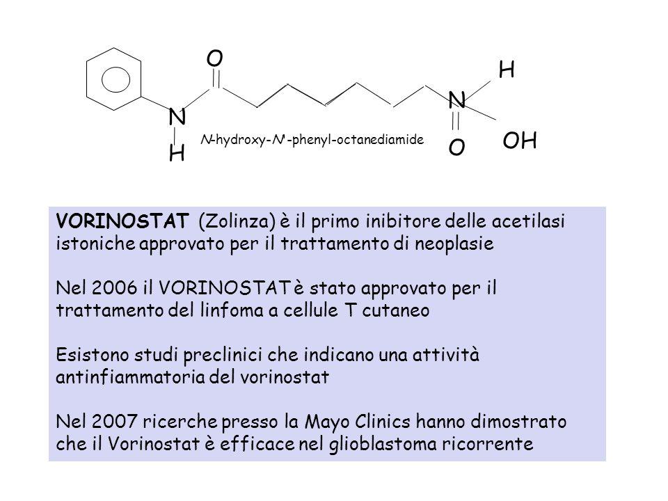VORINOSTAT (Zolinza) è il primo inibitore delle acetilasi istoniche approvato per il trattamento di neoplasie Nel 2006 il VORINOSTAT è stato approvato