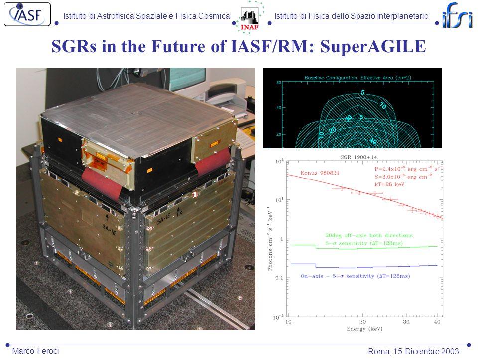 Istituto di Astrofisica Spaziale e Fisica CosmicaIstituto di Fisica dello Spazio Interplanetario Roma, 15 Dicembre 2003 Marco Feroci SGRs in the Futur