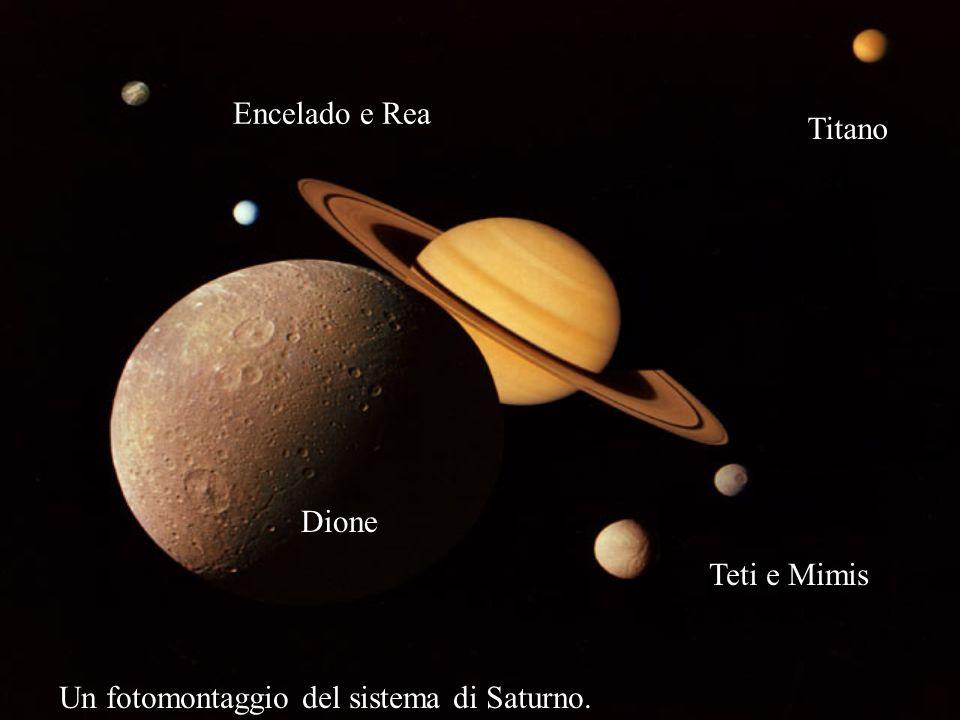 Un fotomontaggio del sistema di Saturno. Titano Teti e Mimis Encelado e Rea Dione