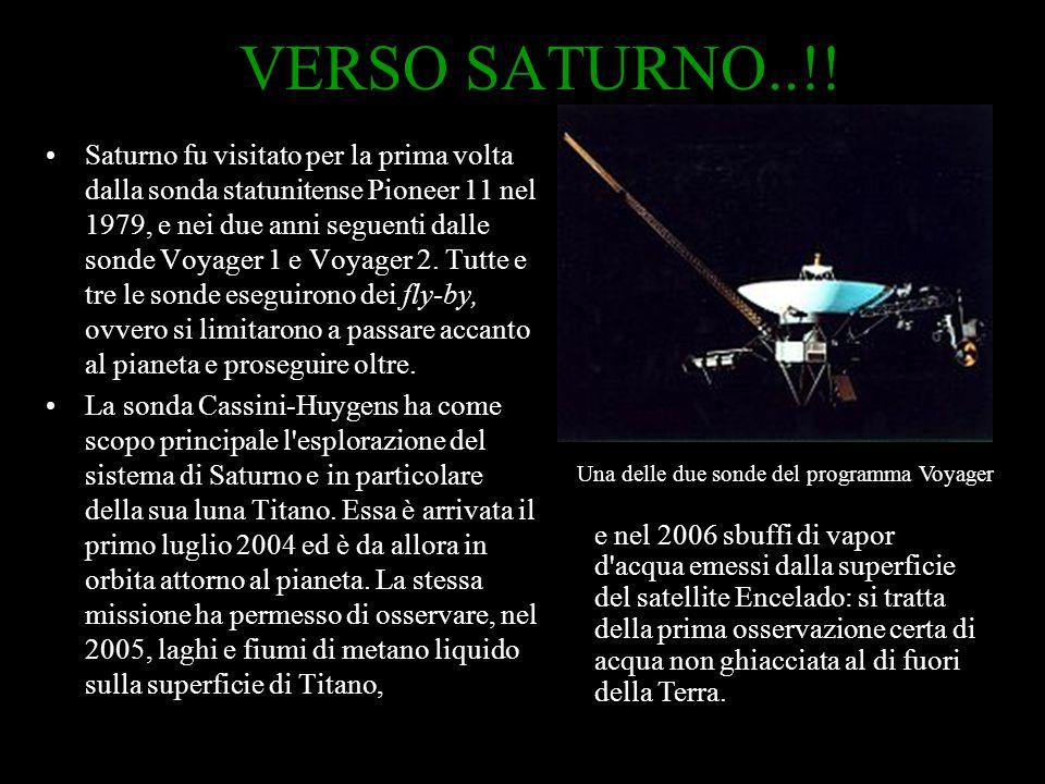 VERSO SATURNO..!! Saturno fu visitato per la prima volta dalla sonda statunitense Pioneer 11 nel 1979, e nei due anni seguenti dalle sonde Voyager 1 e