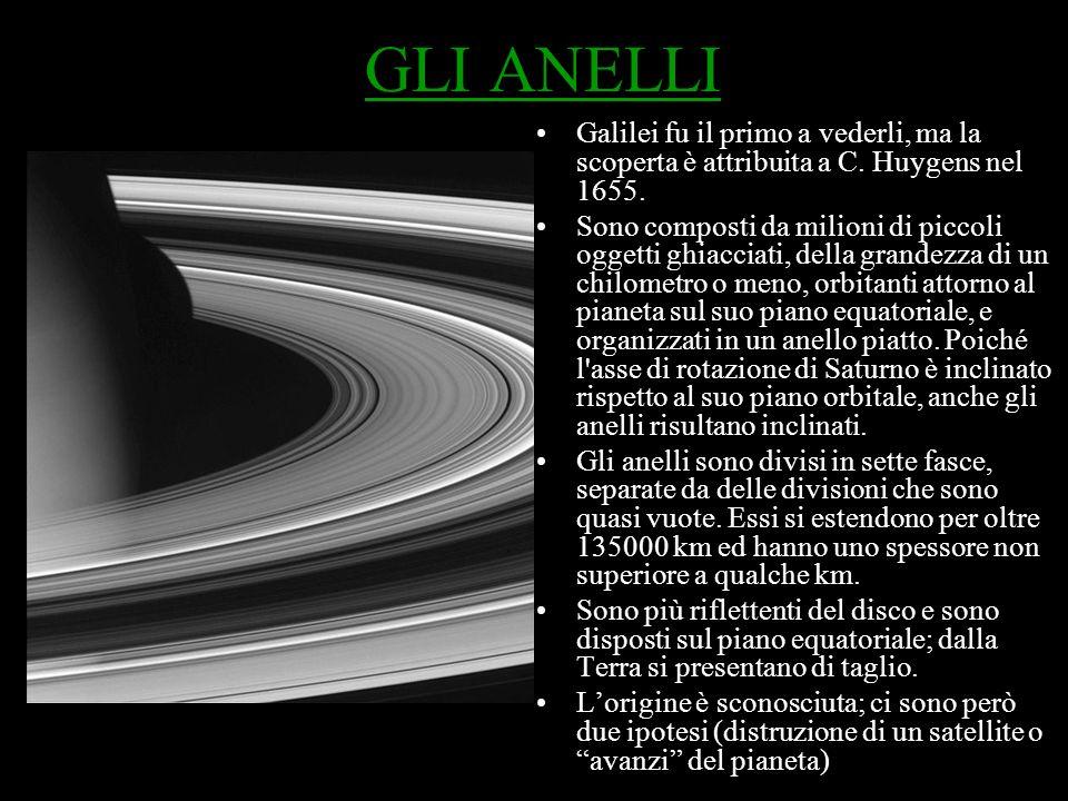 DIVISIONE DEGLI ANELLI Gli anelli visibili vengono indicati con lettere maiuscole: i principali (osservabili anche da Terra) sono gli anelli A (il più esterno) B e C che presentano delle divisioni nette determinate dall interazione gravitazionale con i satelliti del sistema di Saturno.