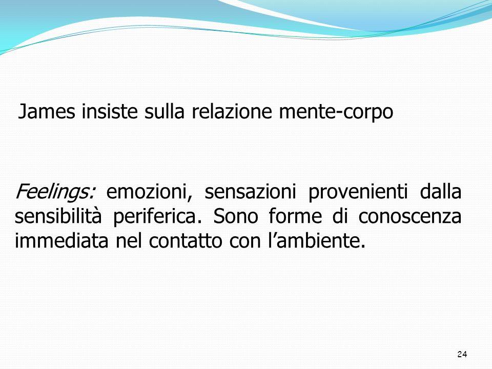 24 James insiste sulla relazione mente-corpo Feelings: emozioni, sensazioni provenienti dalla sensibilità periferica. Sono forme di conoscenza immedia