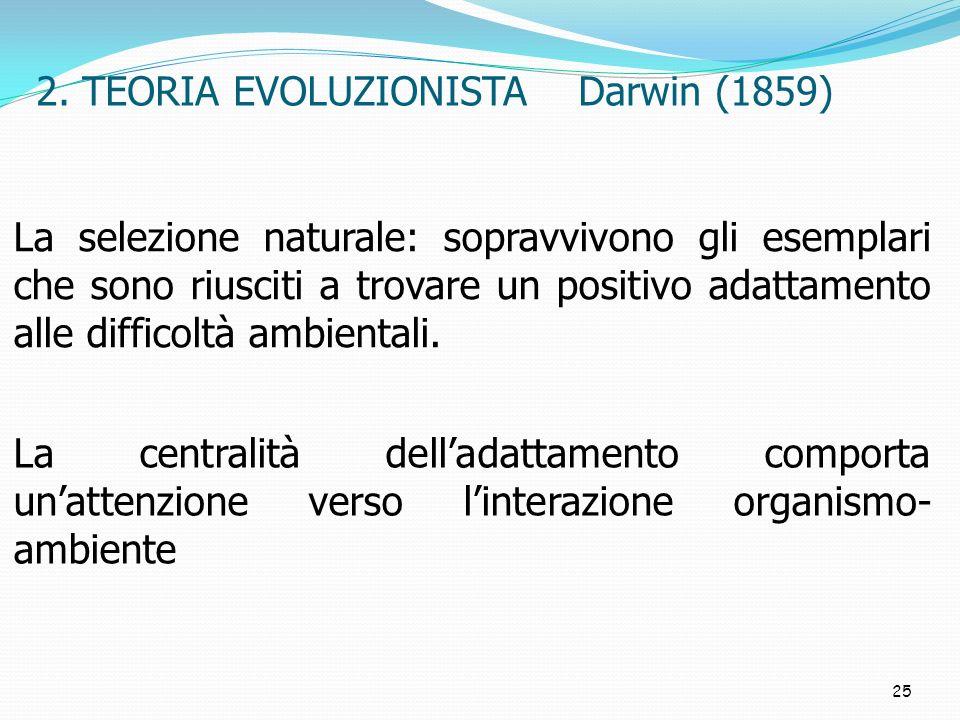 25 2. TEORIA EVOLUZIONISTA Darwin (1859) La centralità delladattamento comporta unattenzione verso linterazione organismo- ambiente La selezione natur