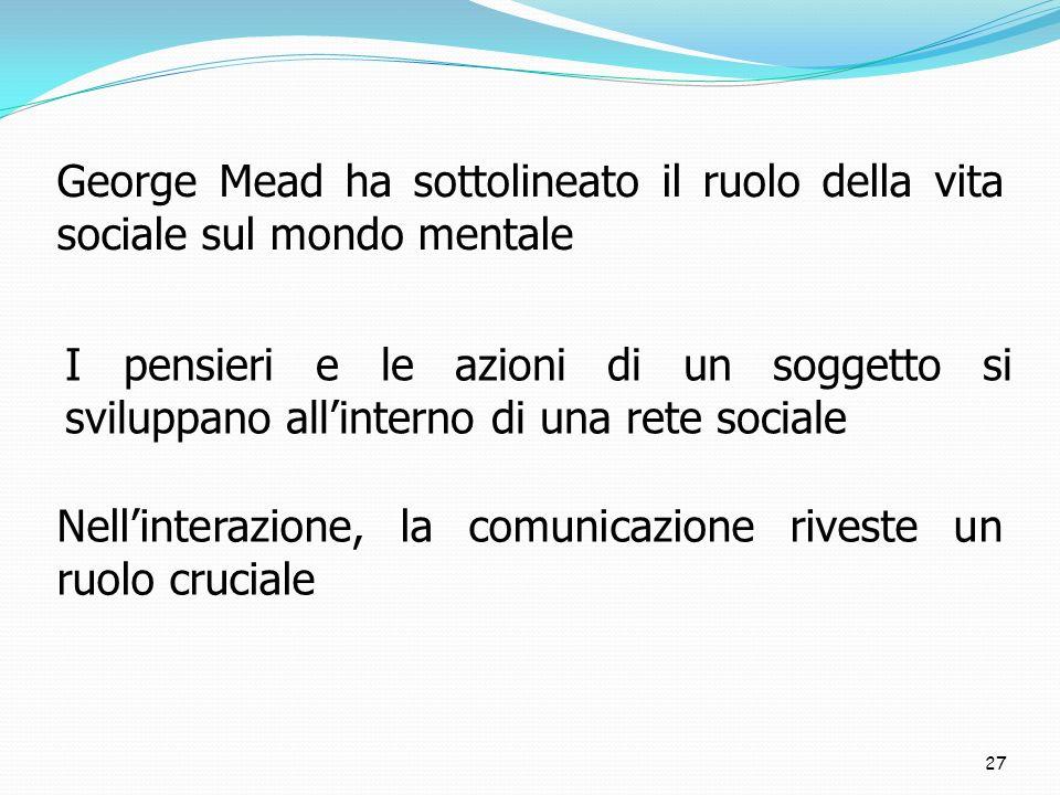 27 George Mead ha sottolineato il ruolo della vita sociale sul mondo mentale I pensieri e le azioni di un soggetto si sviluppano allinterno di una rete sociale Nellinterazione, la comunicazione riveste un ruolo cruciale