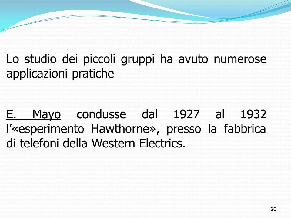 30 Lo studio dei piccoli gruppi ha avuto numerose applicazioni pratiche E. Mayo condusse dal 1927 al 1932 l«esperimento Hawthorne», presso la fabbrica