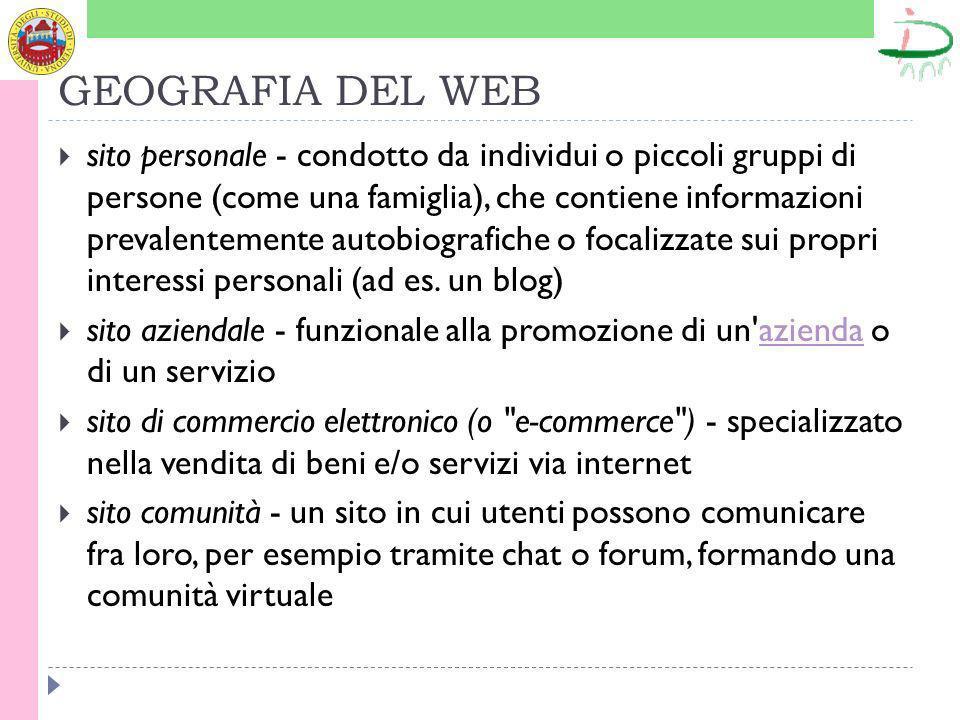 GEOGRAFIA DEL WEB sito personale - condotto da individui o piccoli gruppi di persone (come una famiglia), che contiene informazioni prevalentemente autobiografiche o focalizzate sui propri interessi personali (ad es.