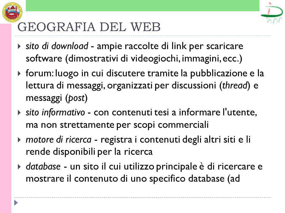 GEOGRAFIA DEL WEB sito di download - ampie raccolte di link per scaricare software (dimostrativi di videogiochi, immagini, ecc.) forum: luogo in cui discutere tramite la pubblicazione e la lettura di messaggi, organizzati per discussioni (thread) e messaggi (post) sito informativo - con contenuti tesi a informare l utente, ma non strettamente per scopi commerciali motore di ricerca - registra i contenuti degli altri siti e li rende disponibili per la ricerca database - un sito il cui utilizzo principale è di ricercare e mostrare il contenuto di uno specifico database (ad