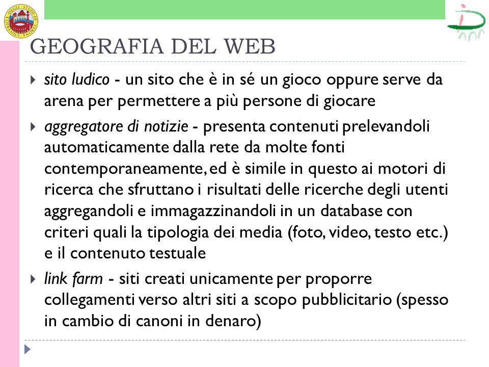 GEOGRAFIA DEL WEB sito ludico - un sito che è in sé un gioco oppure serve da arena per permettere a più persone di giocare aggregatore di notizie - pr