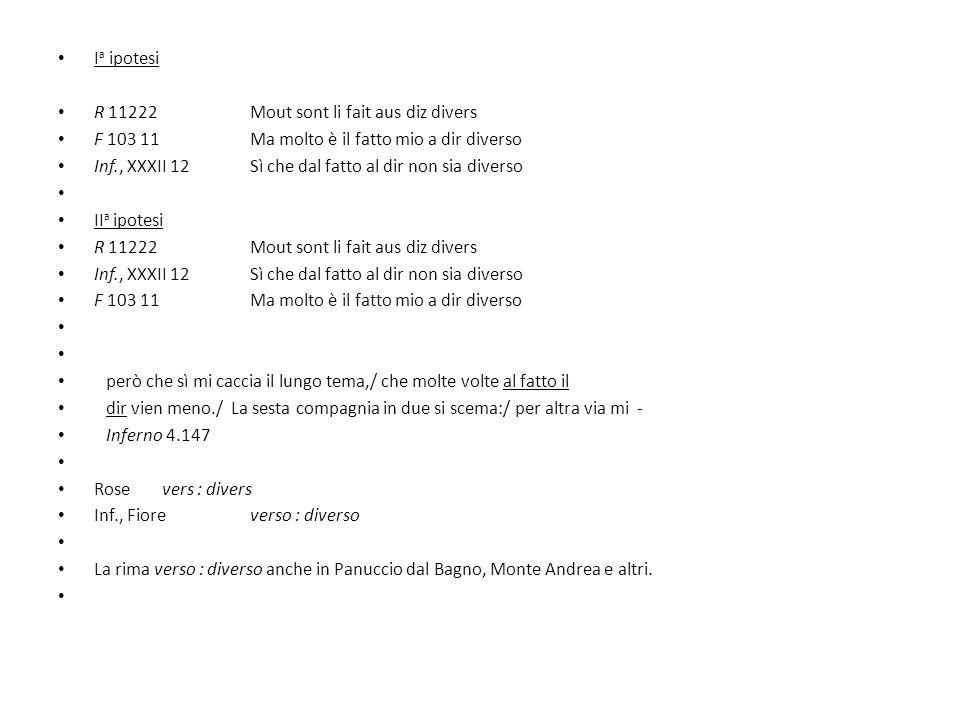I a ipotesi R 11222 Mout sont li fait aus diz divers F 103 11 Ma molto è il fatto mio a dir diverso Inf., XXXII 12Sì che dal fatto al dir non sia dive