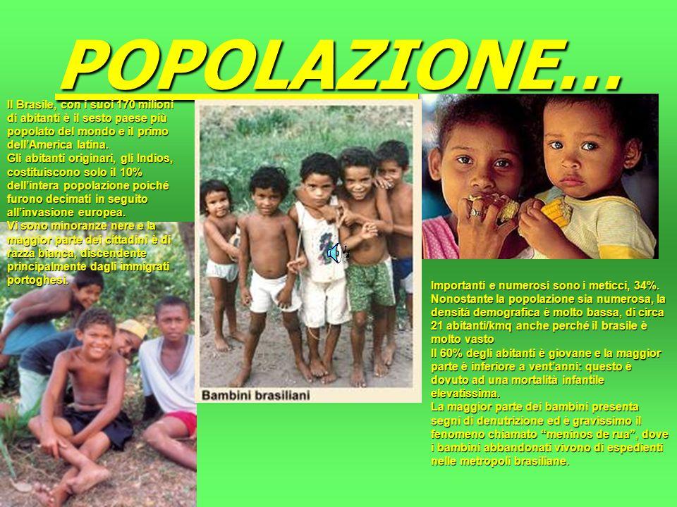 POPOLAZIONE… Il Brasile, con i suoi 170 milioni di abitanti è il sesto paese più popolato del mondo e il primo dellAmerica latina.