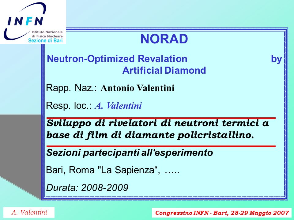 Congressino INFN - Bari, 28-29 Maggio 2007 NORAD Neutron-Optimized Revalation by Artificial Diamond Rapp.