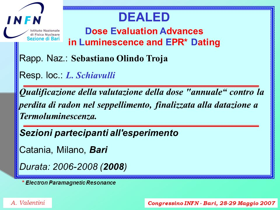Congressino INFN - Bari, 28-29 Maggio 2007 DEALED Dose Evaluation Advances in Luminescence and EPR* Dating Rapp.