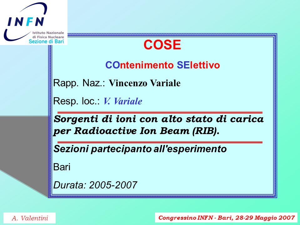 Congressino INFN - Bari, 28-29 Maggio 2007 HALODYST2 HALO of DYnamical systems studied by STochastic processes Rapp.