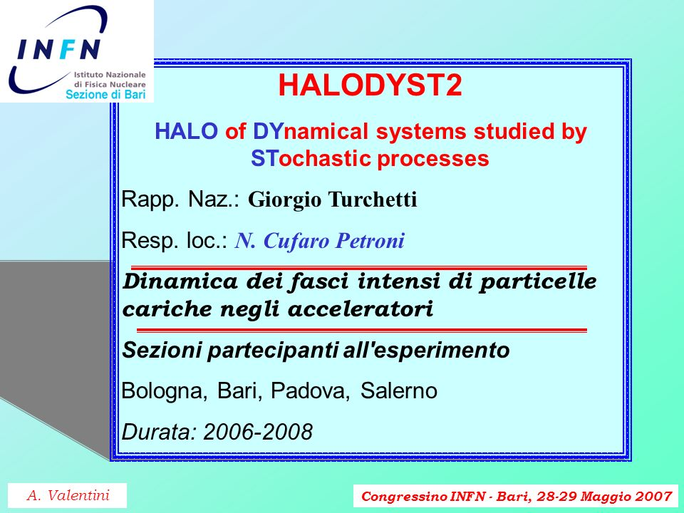 Congressino INFN - Bari, 28-29 Maggio 2007 HALODYST2 HALO of DYnamical systems studied by STochastic processes Rapp. Naz.: Giorgio Turchetti Resp. loc