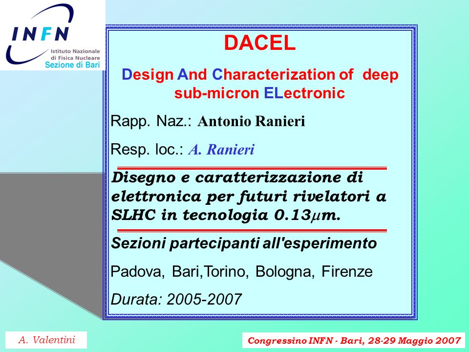 Congressino INFN - Bari, 28-29 Maggio 2007 DACEL Design And Characterization of deep sub-micron ELectronic Rapp.