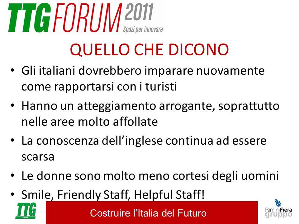 Costruire lItalia del Futuro QUELLO CHE DICONO Gli italiani dovrebbero imparare nuovamente come rapportarsi con i turisti Hanno un atteggiamento arrog