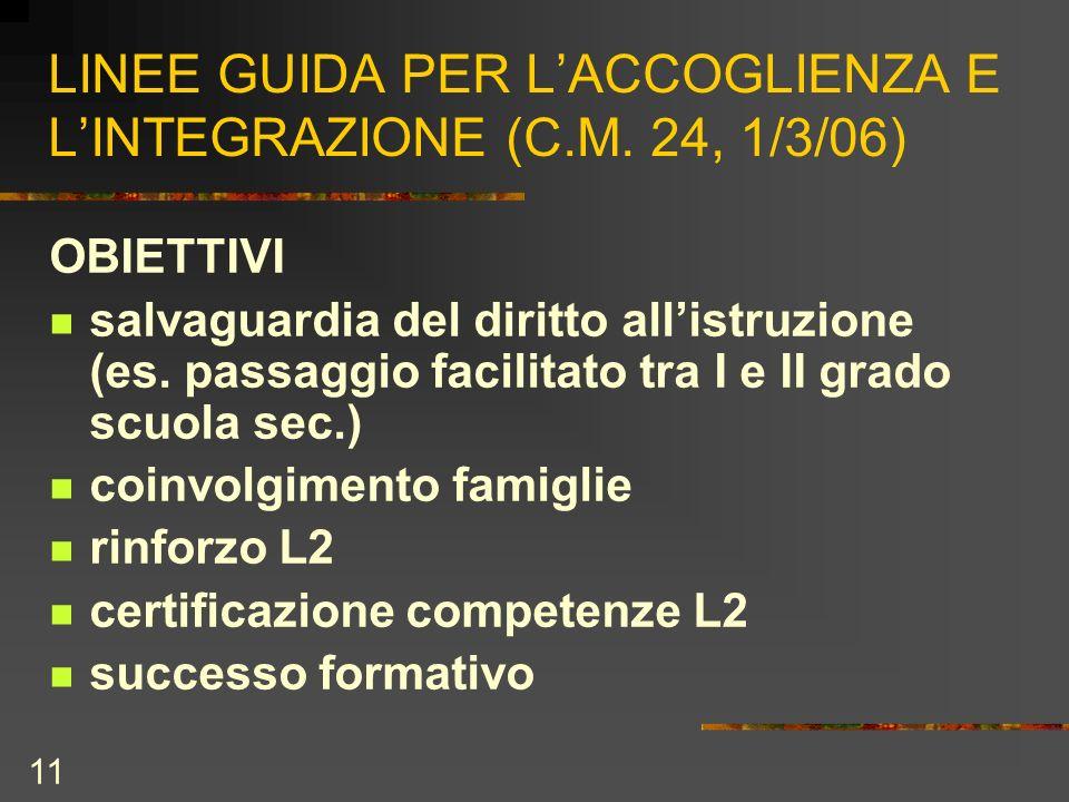 11 LINEE GUIDA PER LACCOGLIENZA E LINTEGRAZIONE (C.M. 24, 1/3/06) OBIETTIVI salvaguardia del diritto allistruzione (es. passaggio facilitato tra I e I