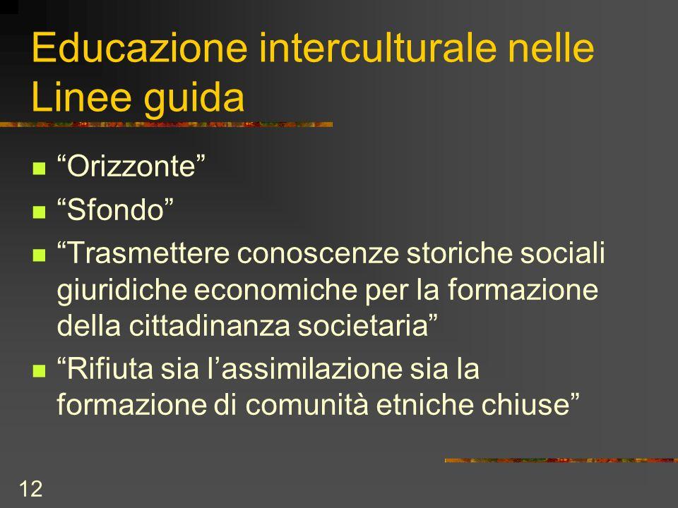 12 Educazione interculturale nelle Linee guida Orizzonte Sfondo Trasmettere conoscenze storiche sociali giuridiche economiche per la formazione della