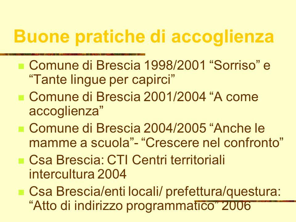 13 Buone pratiche di accoglienza Comune di Brescia 1998/2001 Sorriso e Tante lingue per capirci Comune di Brescia 2001/2004 A come accoglienza Comune