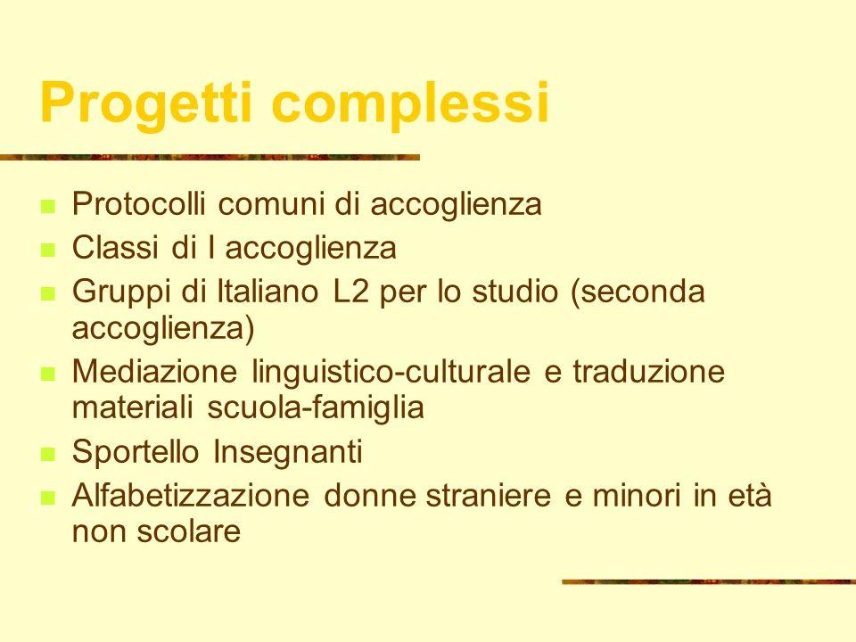14 Progetti complessi Protocolli comuni di accoglienza Classi di I accoglienza Gruppi di Italiano L2 per lo studio (seconda accoglienza) Mediazione li