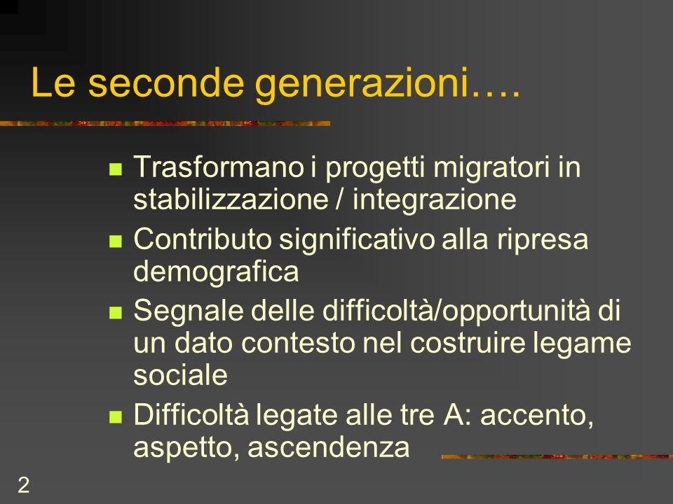 2 Le seconde generazioni…. Trasformano i progetti migratori in stabilizzazione / integrazione Contributo significativo alla ripresa demografica Segnal