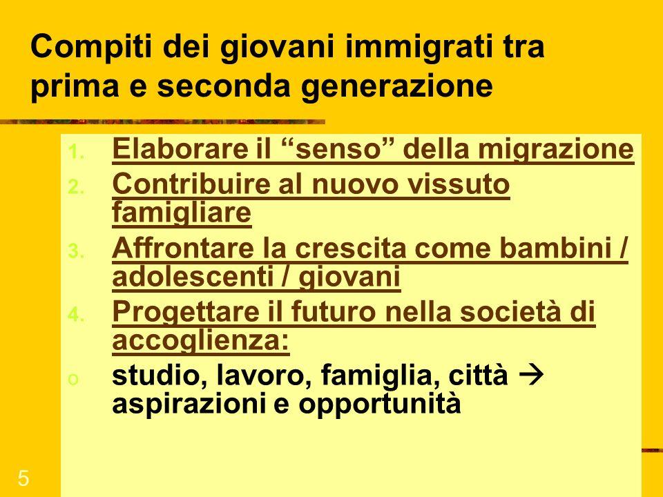 5 Compiti dei giovani immigrati tra prima e seconda generazione 1. Elaborare il senso della migrazione 2. Contribuire al nuovo vissuto famigliare 3. A