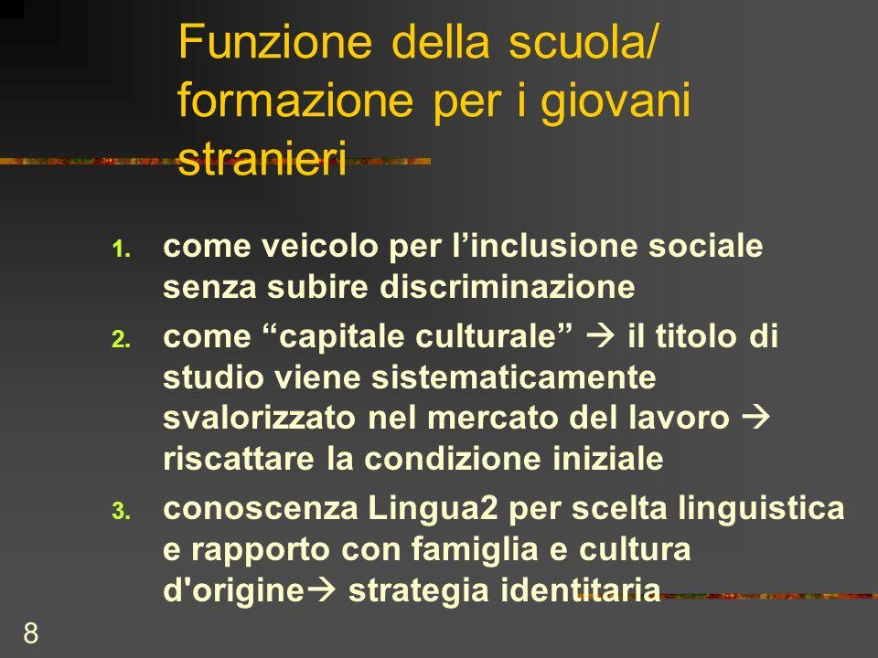 8 Funzione della scuola/ formazione per i giovani stranieri 1. come veicolo per linclusione sociale senza subire discriminazione 2. come capitale cult