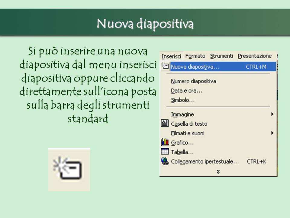 Nuova diapositiva Si può inserire una nuova diapositiva dal menu inserisci diapositiva oppure cliccando direttamente sullicona posta sulla barra degli strumenti standard